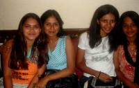 Left to right: Kamee, Shruti, Sharanya and Janani hang out at a party.