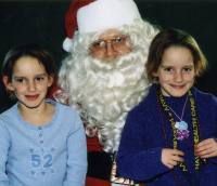 Andie (left) and Hunter with Santa.