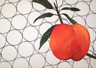 'Peachy.' Peach on a paper towel. 'The circles remind me of the towel--I abstracted them.'