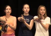Left to right: Claire (Dina), Me (Shulie) and Livi (Ensemble) rehearsing the choreography for the song 'Preamble.'