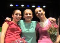 Left to right: Claire (Dina), Livi (Ensemble), and Me (Shulie) after the final performance.