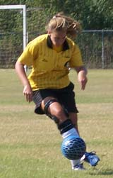 Turning to score during a referee game.