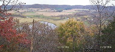 The bluffs in the distance are above the Wisconsin River.