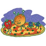 Click the fruity friends to get the recipe for Fruit Pizza.