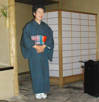 Look at the beautiful kimono (a traditional Japanese dress).