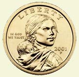 The 2000 golden dollar coin front: Sacagawea looking at you!