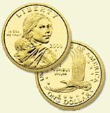 Sacagawea and her infant, Jean Baptiste, are on the front. A soaring American eagle is on the back.