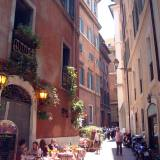 Walking around the city is a great way to see things for free. This was a beautiful street in Rome where we stopped for lunch.