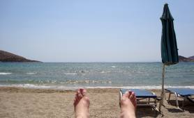 I'm taking a break at a beach near Athens.